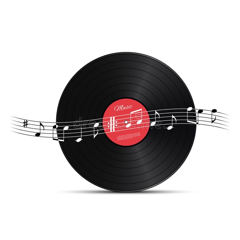 Vinyl disc and music note wave. Vector music design element. vector illustration