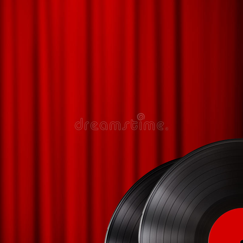 Vinyl disc with red curtain background