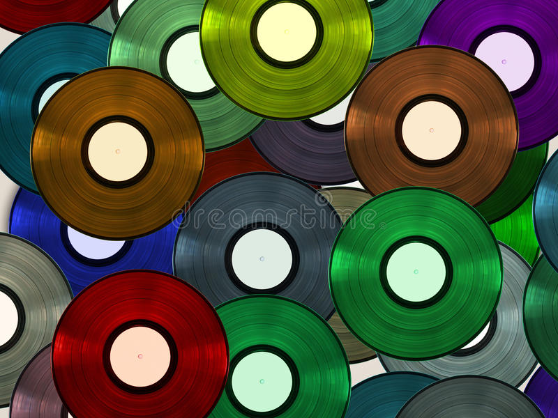 Vinyl discs. Colorful vinyl discs randomly spread agains white background to create an abstract wallpaper royalty free stock images