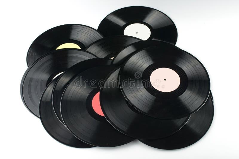 Vinyl discs on white background royalty free stock image