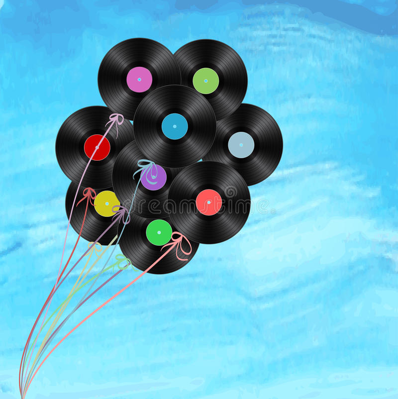 Vinyl disks as balloons. On watercolor background stock illustration