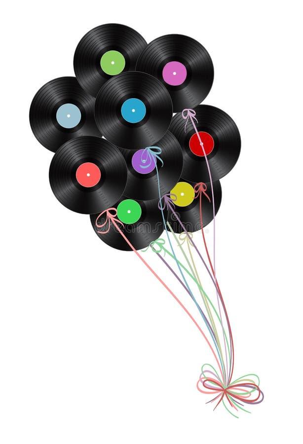 Vinyl disks as balloons. On white background stock illustration