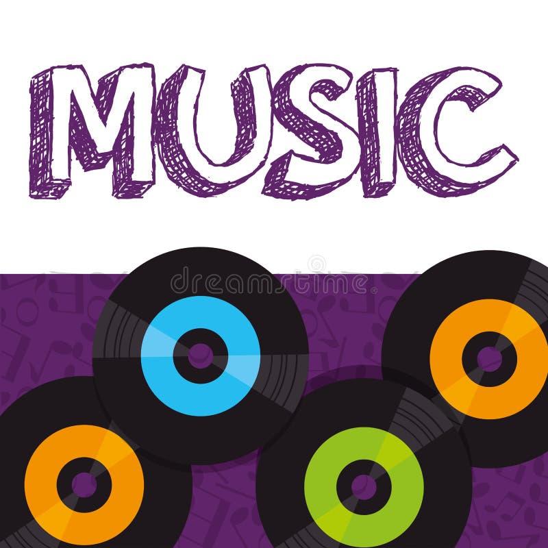 Vinyl disks musical poster. Vector illustration design royalty free illustration