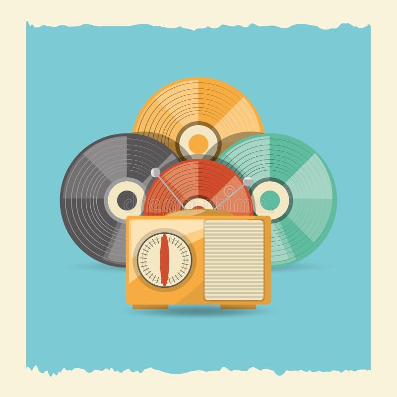 Retro music design. Vinyl disks and retro radio icon over blue background, colorful design. vector illustration vector illustration