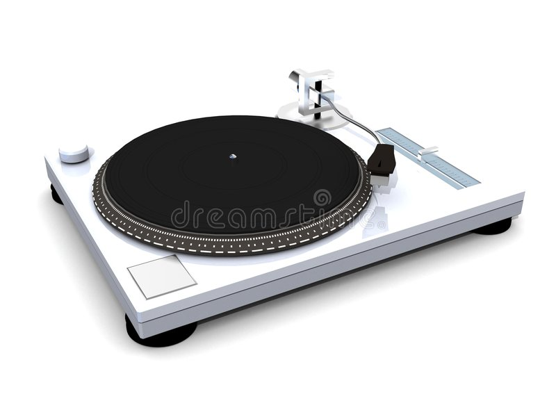 Vinyl dj turntable render stock illustration