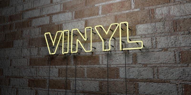 VINYL - Gloeiend Neonteken op metselwerkmuur - 3D teruggegeven royalty vrije voorraadillustratie vector illustratie