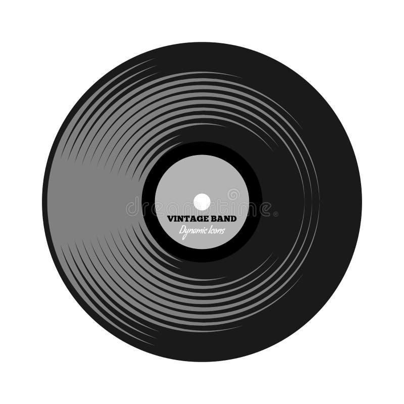 Vinyl langspeelverslag met beeldverhaal of vlakke kleurenstijl Symbool of embleemconceptontwerp Vector illustratie royalty-vrije illustratie