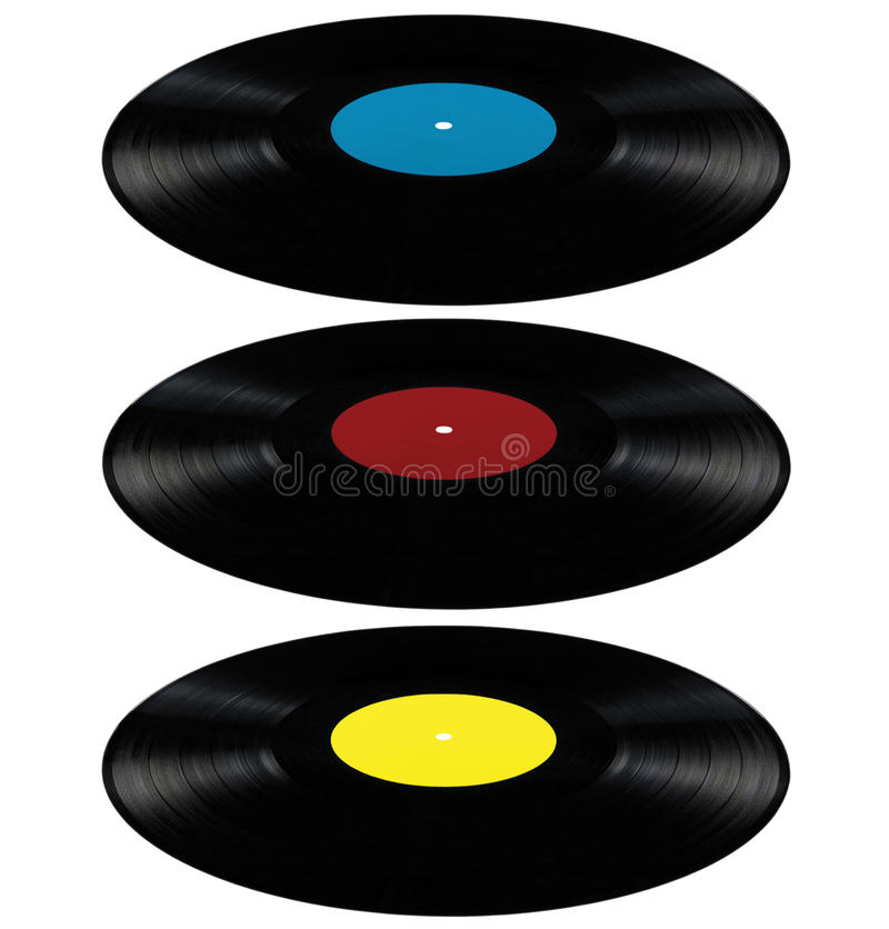 Vinyl lp record album disc long play disk red blue. Black vinyl lp album discs; isolated long play disks with blank label in cyan blue, red, yellow perspective vector illustration