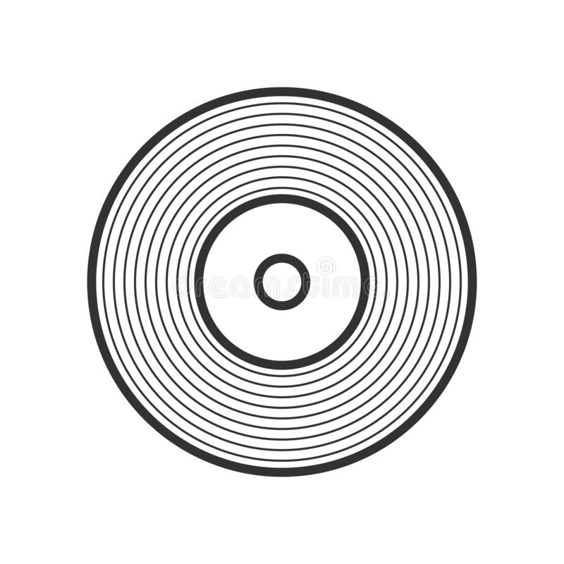 Vinyl LP Record Outline Flat Icon on White vector illustration