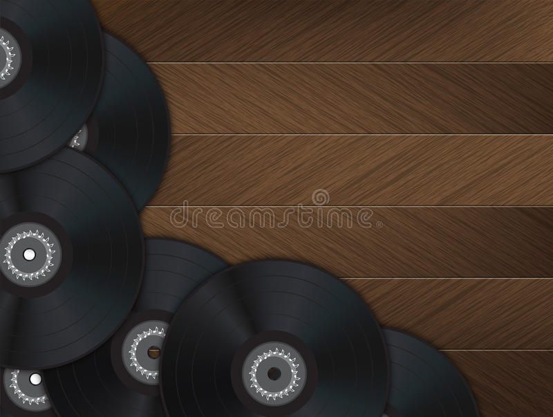 Vinyl Music Background. With many vinyl disks in the left and bottom of the image on a wood floor vector illustration