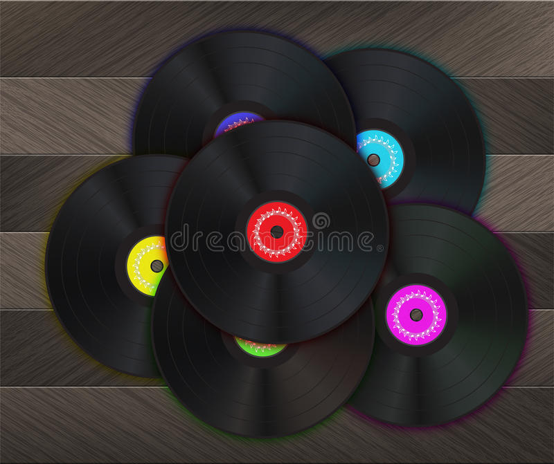 Vinyl Music Background. With many vinyl disks in center of the image on a wood floor stock illustration