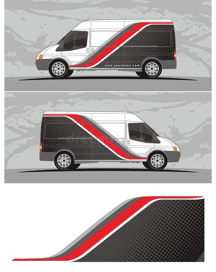 Vinyl & Overdrukplaatjes voor bestelwagen, de Grafiek van het vrachtwagensvoertuig in geïsoleerd formaat stock illustratie
