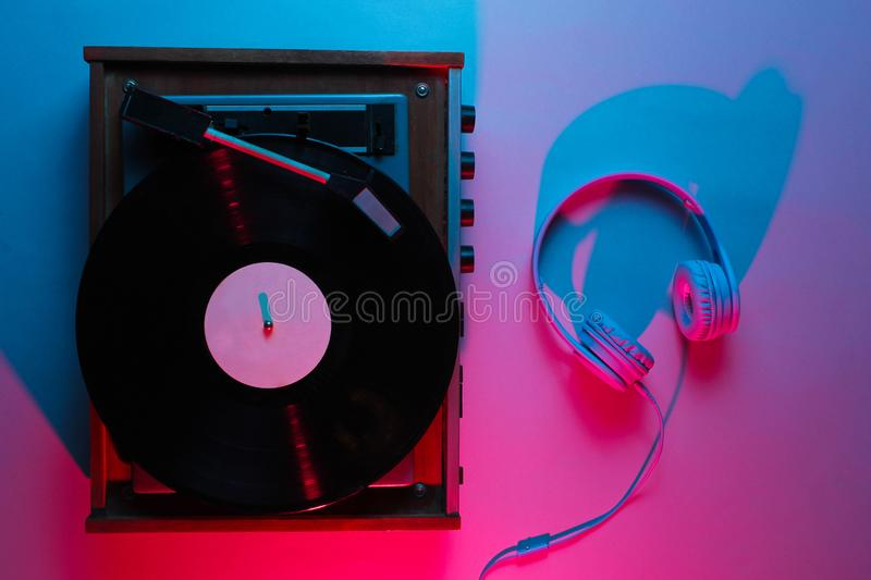Vinyl player with lp record royalty free stock image