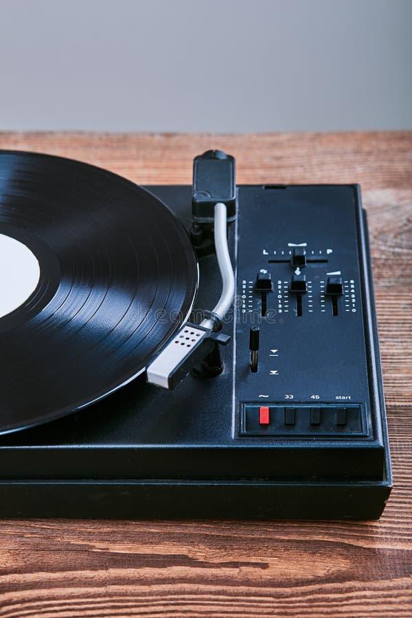 Vinyl player with vinyl record stock photo