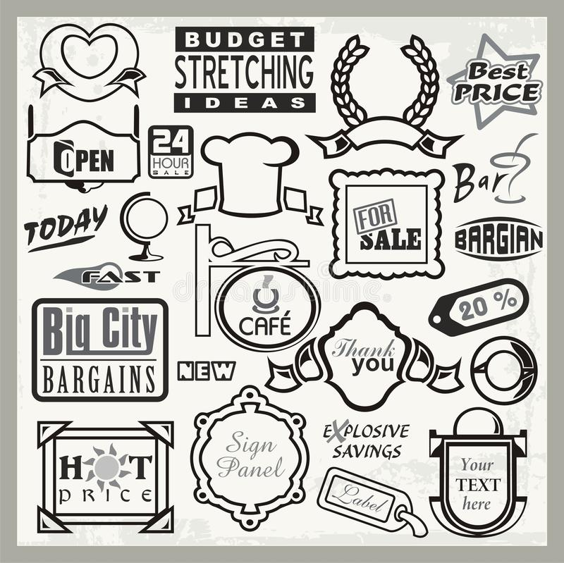 Download Vinyl Ready Sign Designs, Headers & Labels Set Stock Illustration - Image: 21995040