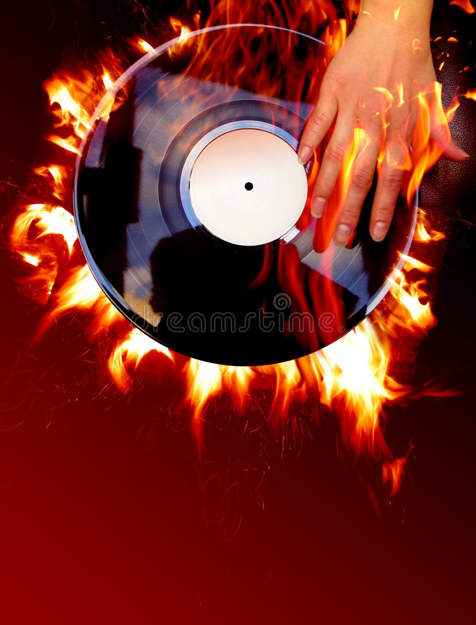 Vinyl record. And fire royalty free illustration