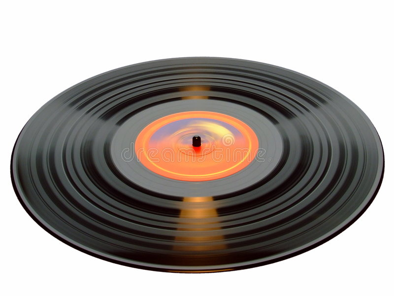 Vinyl Record. A revolving vinyl LP record - isolated over pure white royalty free stock image