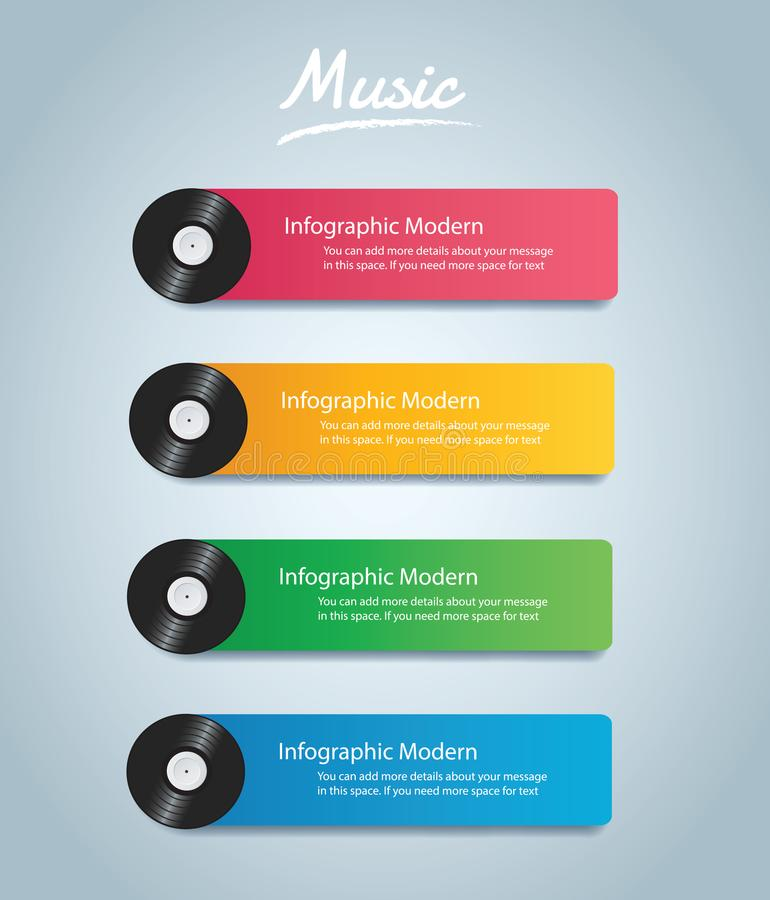Vinyl record with cover mockup infographic background vector stock illustration