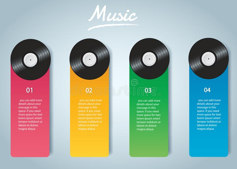 Vinyl record with cover mockup infographic background vector royalty free illustration