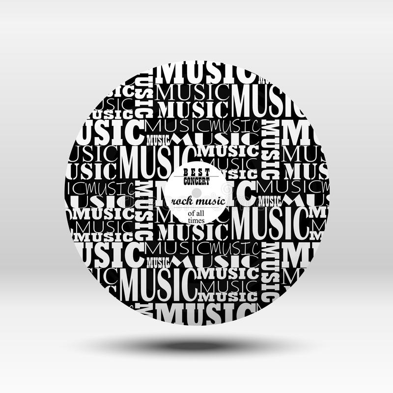 Vinyl record, vinyl disc. On the disc, a combination of different fonts. Beautiful vinyl record, vinyl disc. On the disc, a combination of different fonts royalty free illustration
