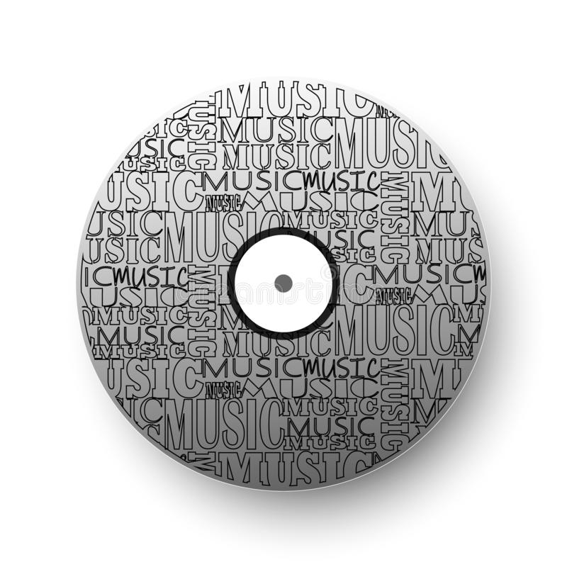 Vinyl record, vinyl disc. On the disc, a combination of different fonts. Beautiful vinyl record, vinyl disc. On the disc, a combination of different fonts vector illustration