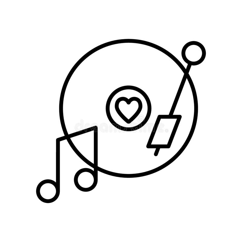 Vinyl record disc with heart line icon. Romantic music vector illustration isolated on white. Love song on a plate stock illustration
