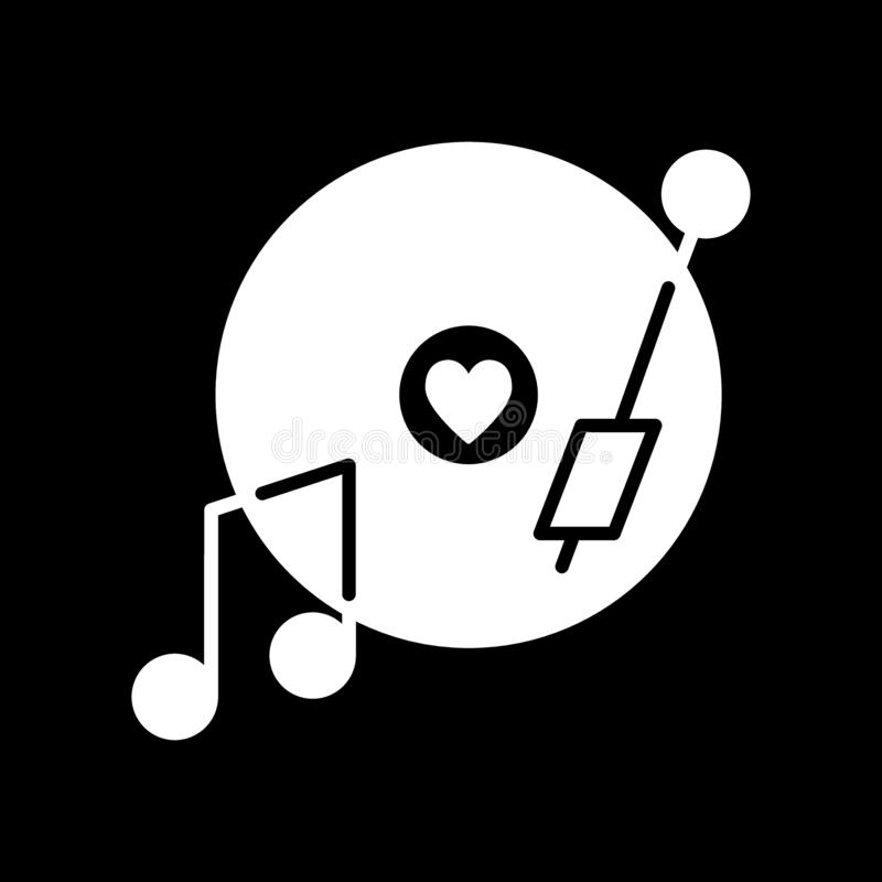 Vinyl record disc with heart solid icon. Romantic music vector illustration isolated on black. Love song on a plate vector illustration