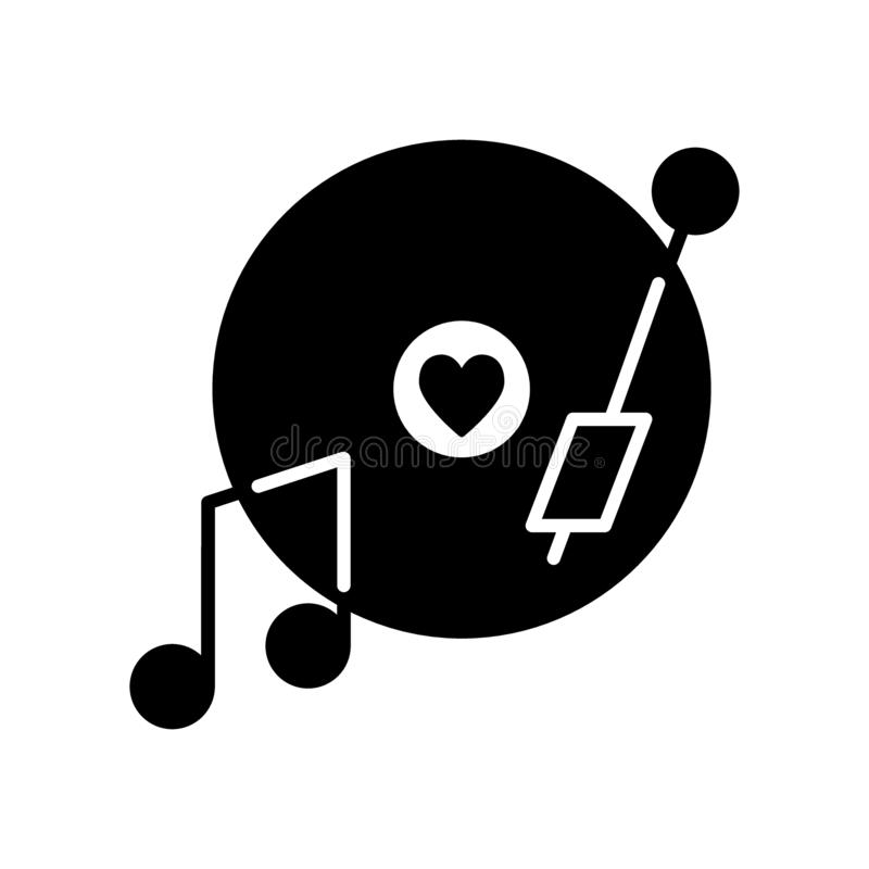 Vinyl record disc with heart solid icon. Romantic music vector illustration isolated on white. Love song on a plate vector illustration