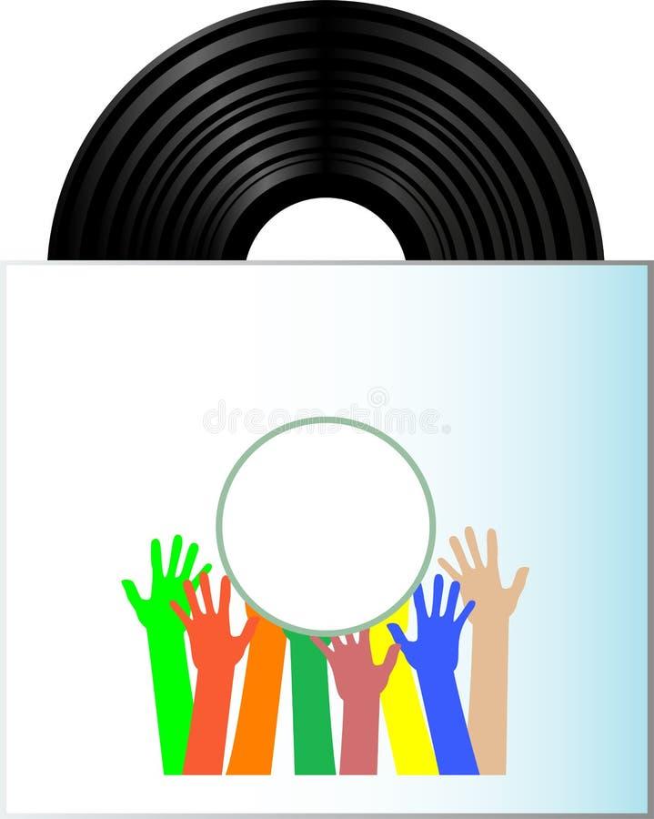 Vinyl record disk in box on white background royalty free illustration
