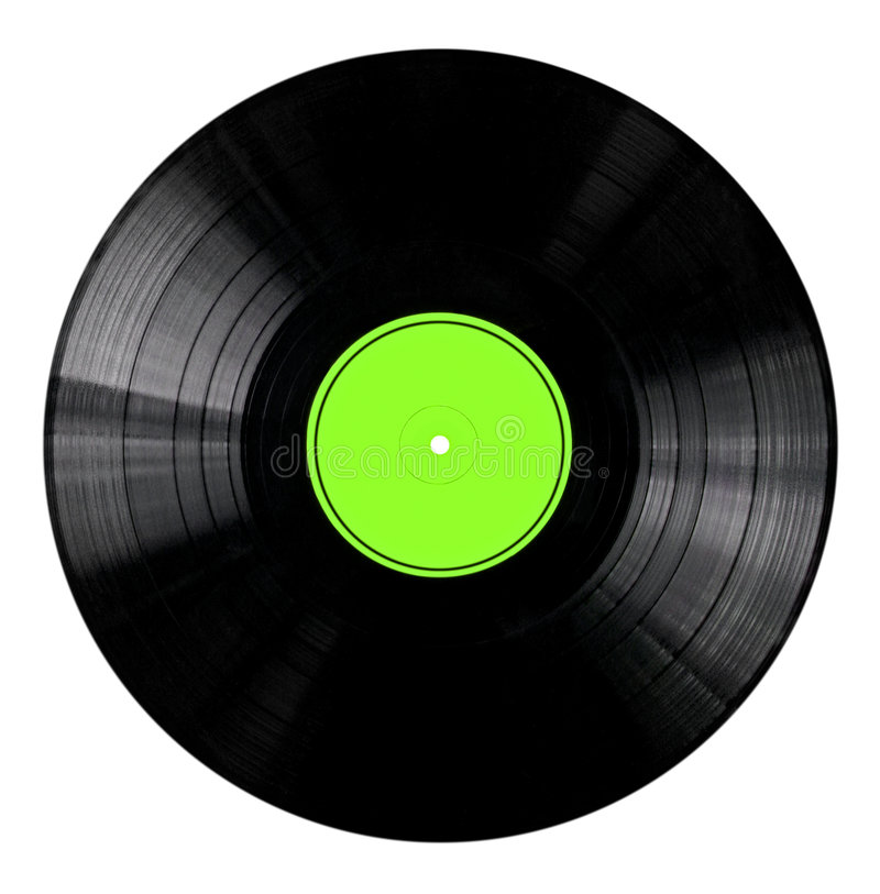 Vinyl Record with Green Label. Vinyl 33rpm record with yellow label. With clipping path stock image