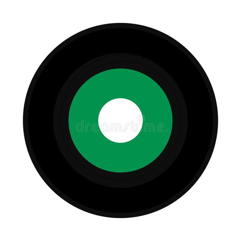 Vinyl record green label. Vinyl record vintage analog music recording medium with green label stock images