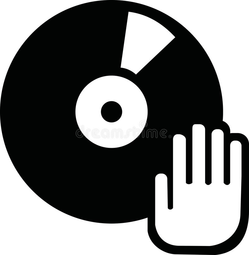 Vinyl record with hand vector illustration