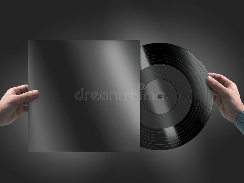Vinyl record in hands mockup royalty free stock images