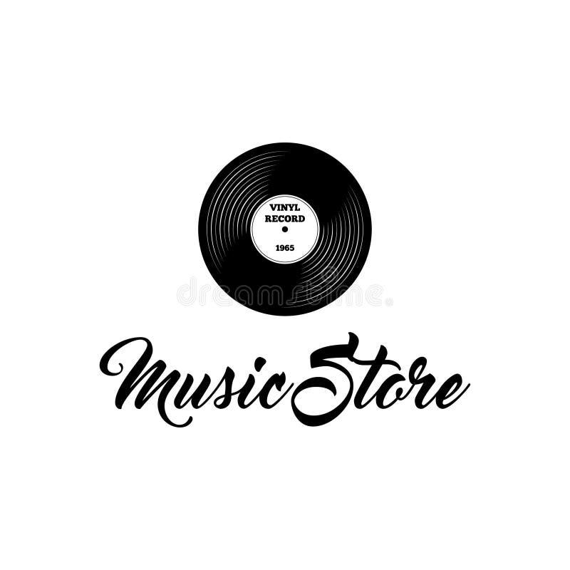 Vinyl record icon. Music store logo label. Musical badge. Vector. royalty free illustration