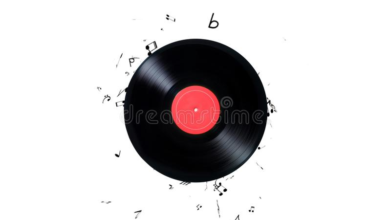 Vinyl record with a lot of notes. Vinyl record playing music royalty free illustration