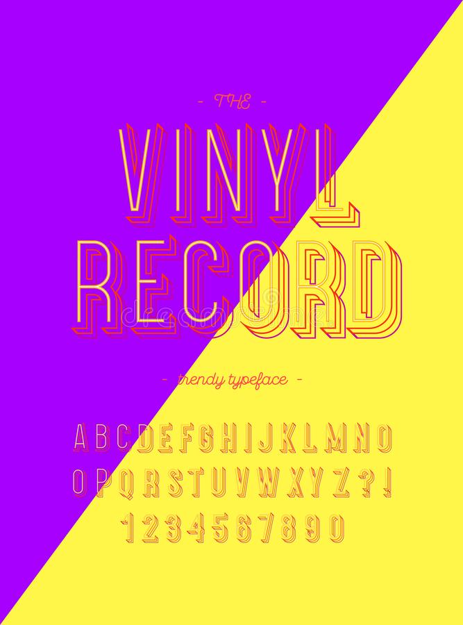Vinyl record modern trendy typeface 3d colorful style vector illustration