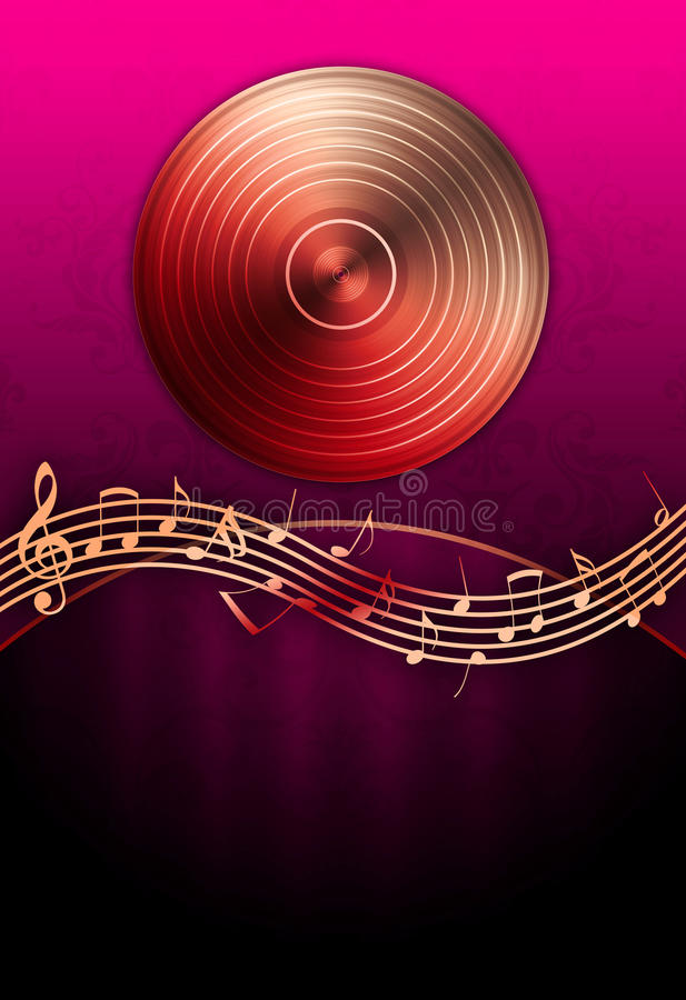 Free Vinyl Record & Music Notes Royalty Free Stock Photography - 14362047
