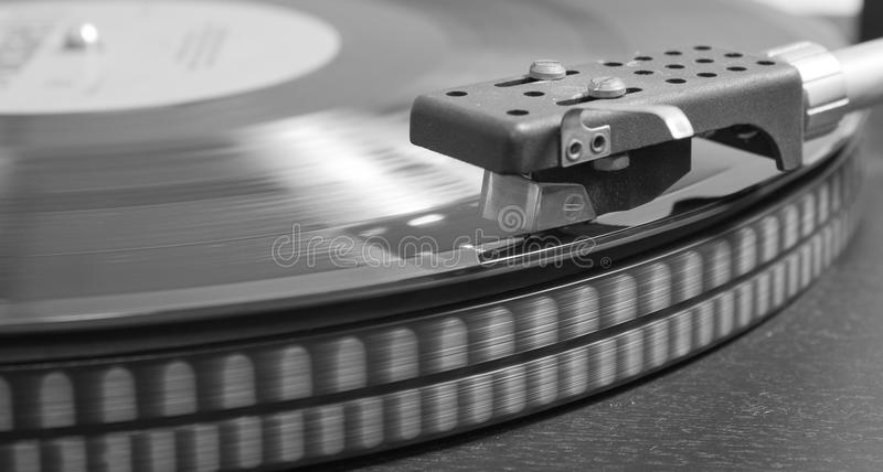 Vinyl on the record player stock images