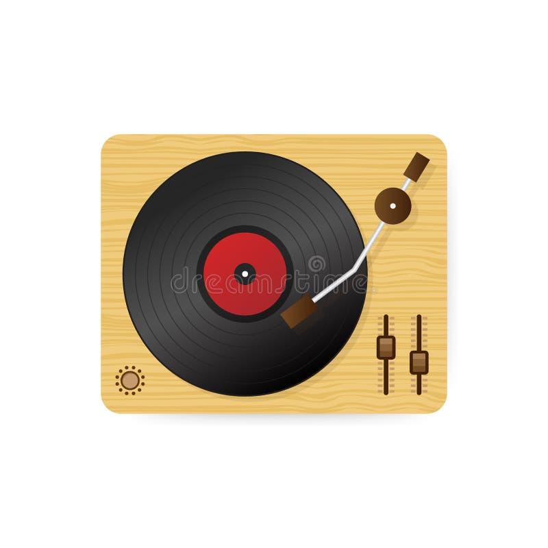 Vinyl record player illustration, flat cartoon retro vintage turntable playing melody. Vector illustration. stock illustration