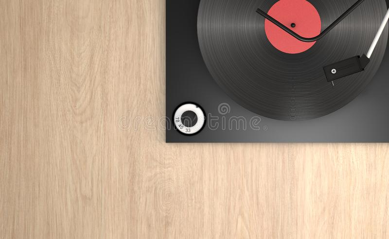 Vinyl record and record player leaning on a wooden surface, mechanical arm to listen to the songs vector illustration