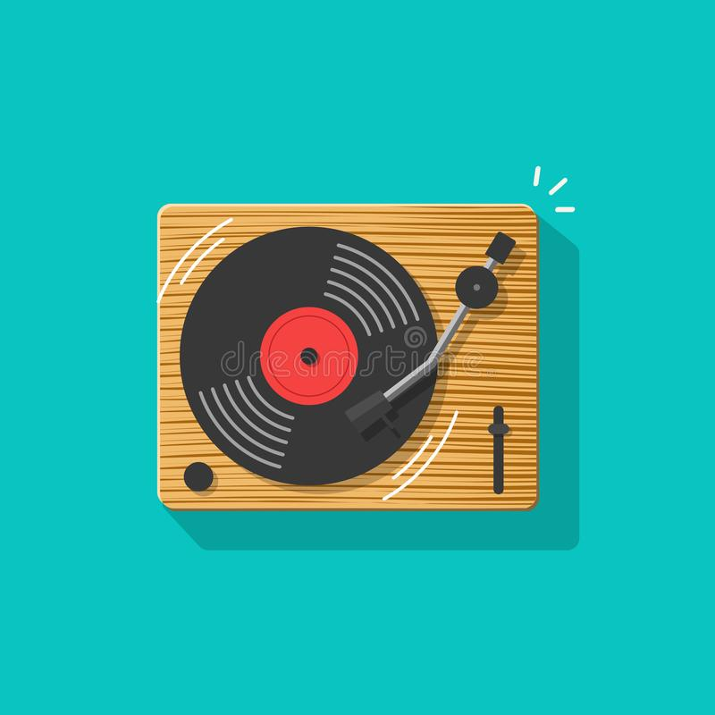 Vinyl record player vector illustration, flat cartoon retro vintage turntable playing melody icon isolated clipart vector illustration