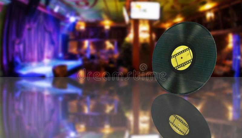 Vinyl record retro sound on bar background with reflection 3d royalty free illustration