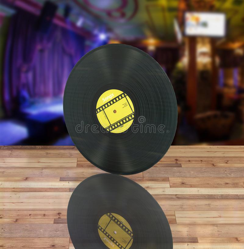 Vinyl record retro sound on bar background with reflection 3d vector illustration