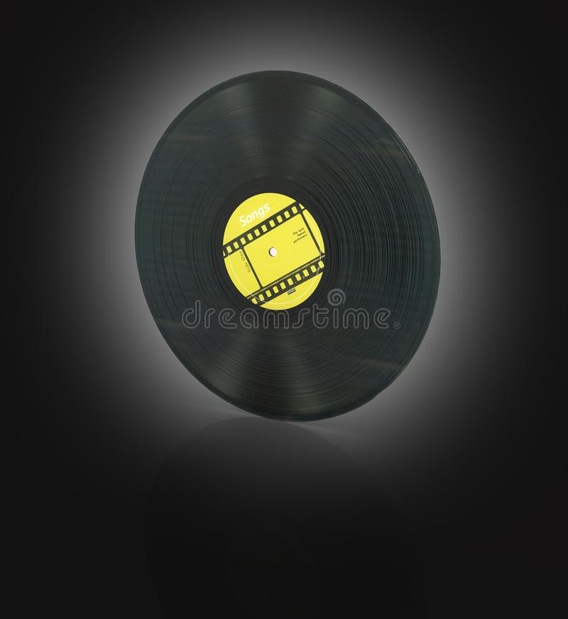 Vinyl record retro sound on black gradient background with reflection 3d vector illustration