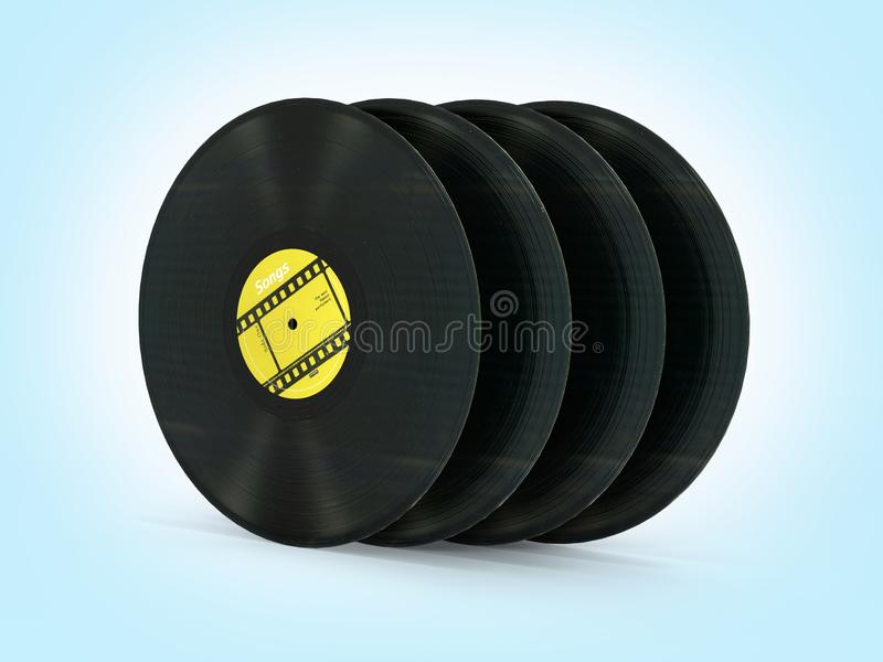 Vinyl record retro sound on blue gradient background 3d stock illustration