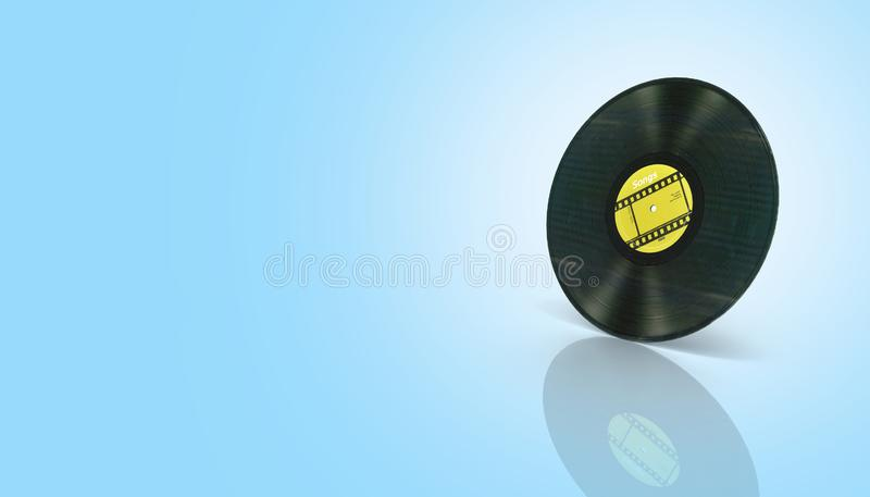 Vinyl record retro sound on blue gradient background with reflection 3d vector illustration