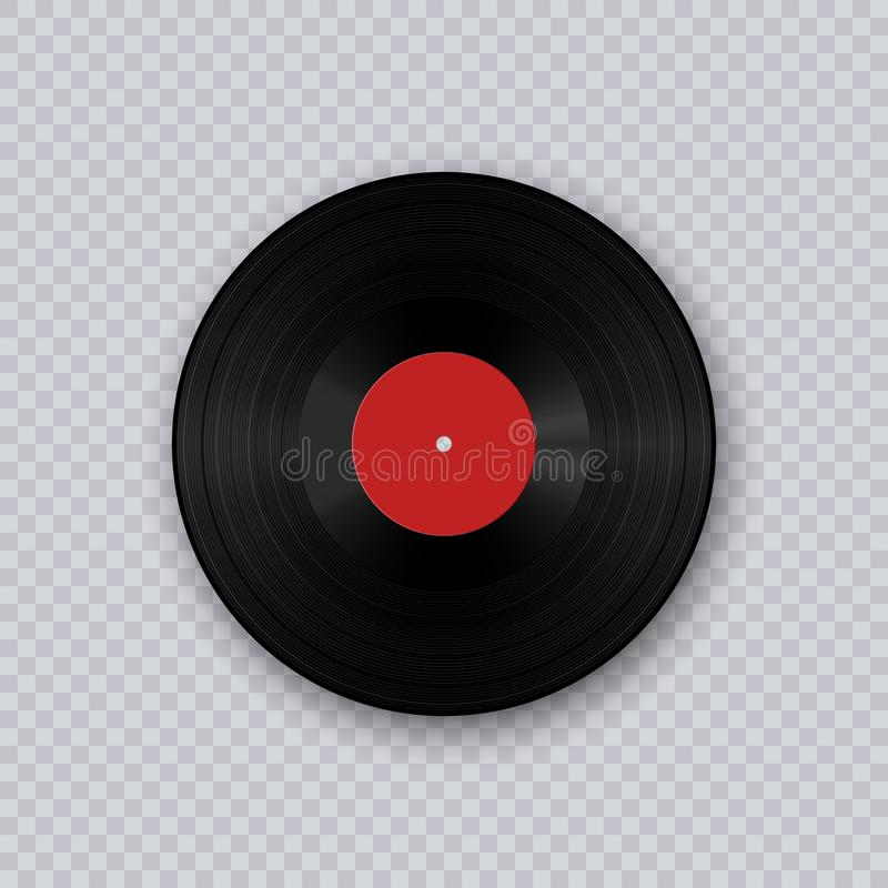 Vinyl record. Retro sound carrier. Retro sound carrier. Gramophone vinyl LP record template isolated on transparent background. stock illustration