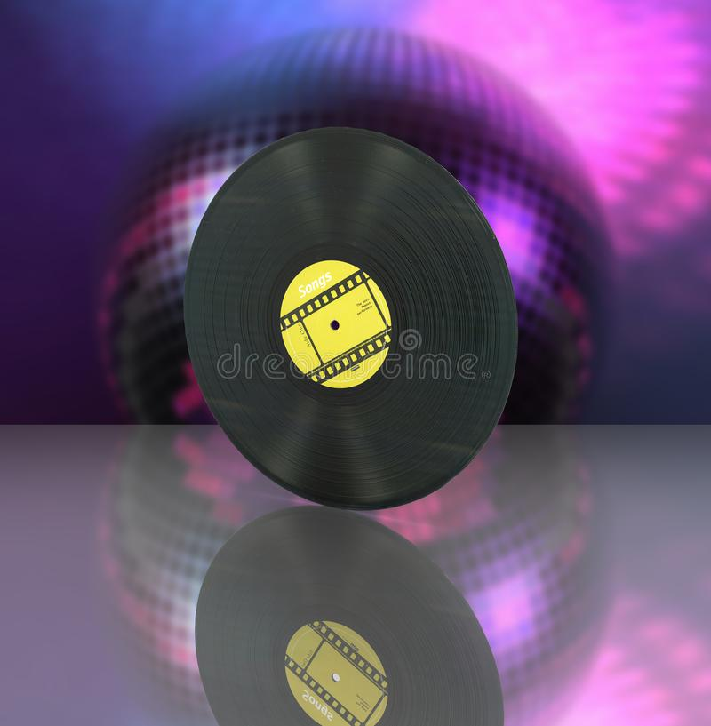 Vinyl record retro sound on disco ball background with reflection 3d vector illustration