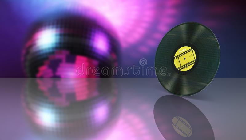 Vinyl record retro sound on disco style background with reflection 3d royalty free illustration