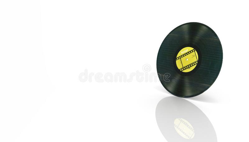 Vinyl record retro sound isolated on white background with reflection 3d vector illustration